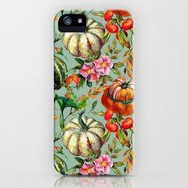 Vintage modern hand painted floral roses pumpkins pattern iPhone Case