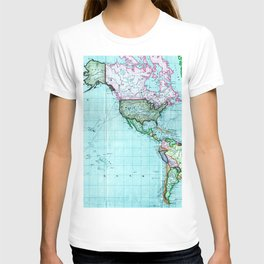 Turquoise Map Pattern T-shirt