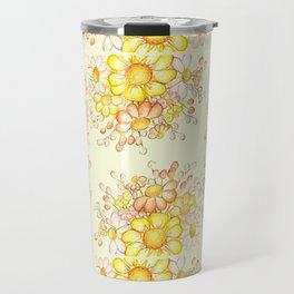 Larger Faded Flowers Tiled Travel Mug