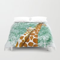 giraffes Duvet Covers featuring giraffes by Isabel Sobregrau