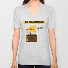 The Grammarphone - Funny Gramophone Wordplay Unisex V-Neck