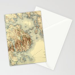 Map Of Acadia National Park 1931 Stationery Cards