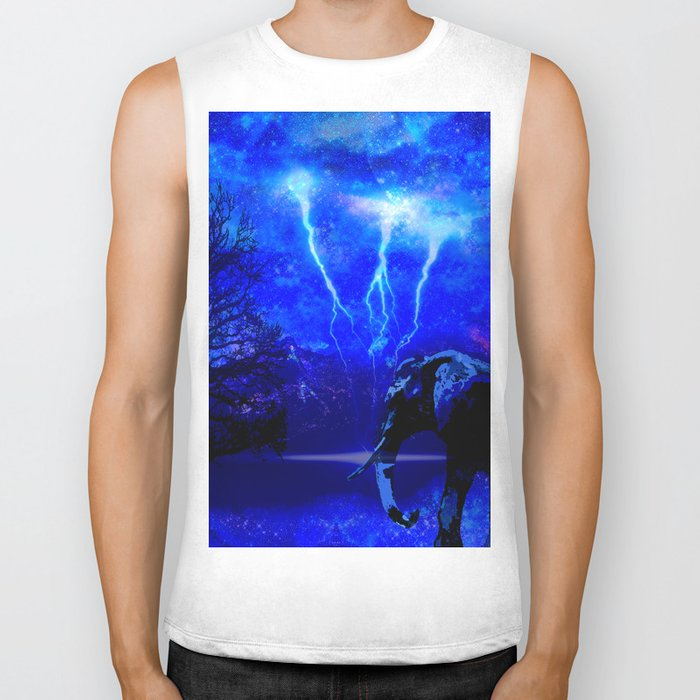 ELEPHANT LIGHTNING AND AFRICAN NIGHTS Biker Tank