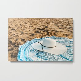 Travel Photography, White Beach Hat, Summer Vacation, Holiday Time, Beauty Accessories, Ocean Decor Metal Print