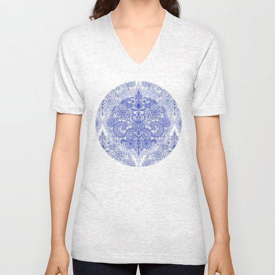 Happy Place Doodle in Cornflower Blue, White & Grey Unisex V-Neck
