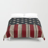 patriotic Duvet Covers featuring Patriotic Wood Texture #2 by Juliana RW