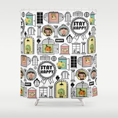 Pattern Stay Happy Animals Shower Curtain