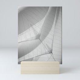 Black and white sails - sailing- nautical photography  Mini Art Print