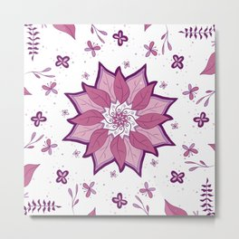 Leaf Mandala purple By Sonia H. Metal Print