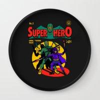superhero Wall Clocks featuring Superhero Comic by harebrained