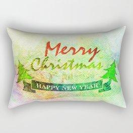 Green Merry Christmas Happy New Year Rectangular Pillow