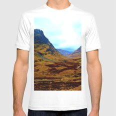 Glencoe, Scottish Highlands, in the Autumn White MEDIUM Mens Fitted Tee