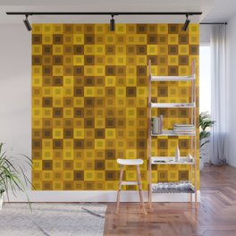 Strict tile of yellow intersecting rectangles and gold bricks. Wall Mural