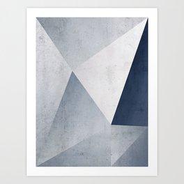 Indigo Minimal Geometry Art Print