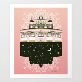 Budapest Bath House – Peach & Gold Palette Art Print