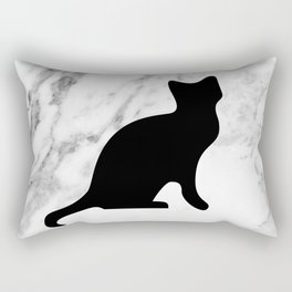 Marble black cat Rectangular Pillow