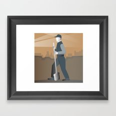 cleaner street sweeper with broom working retro Framed Art Print