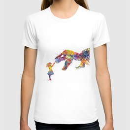 Girl and Dinosaur T-Rex Silhouette Colorful Watercolor T-shirt