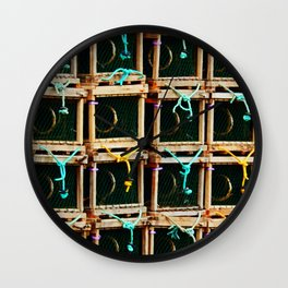 Square Lobster Traps Wall Clock