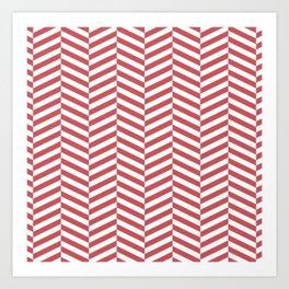 Classic red chevron Art Print