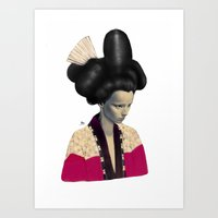 geisha Art Prints featuring Geisha by Albert Lee