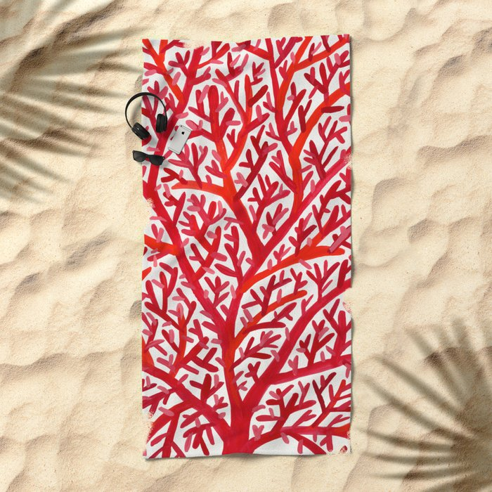 Red Fan Coral Beach Towel