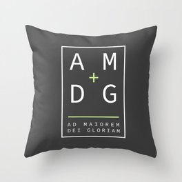 Jesuit motto latin phrase: Ad Maiorem Dei Gloriam Throw Pillow