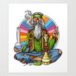Hippie Stoner Smoking Weed Art Print