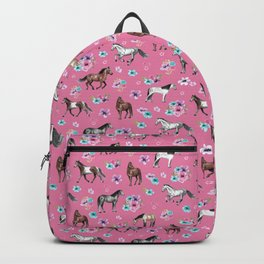 Pink Horse Print, Hand Drawn, Horses and Flowers, Girls Room, Backpack