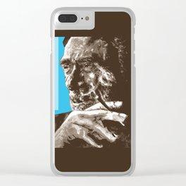 Charles BUKowski - POP-ART - sepia blue Clear iPhone Case