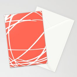 Striped Circles and Swirls, Living Coral, Abstract Stationery Cards