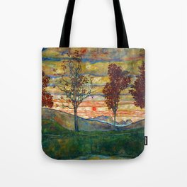 Four Trees with Red Leaves at Sunrise landscape painting by Egon Schiele Tote Bag