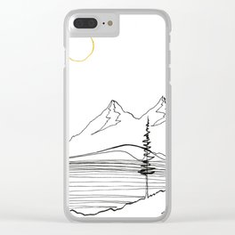 Wave, trees and mountains Clear iPhone Case