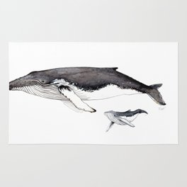 North Atlantic Humpback whale with calf Rug