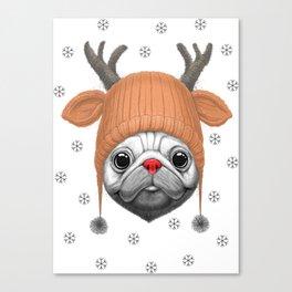 Pug Rudolph Canvas Print