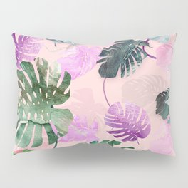 Tropical Leves on Pink Pillow Sham