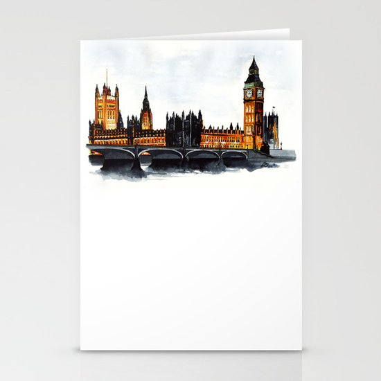 London, Big Ben, parliament, Watercolour Stationery Cards
