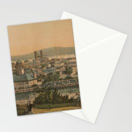 Vintage Pictorial Map of Montreal Canada (1860) Stationery Cards