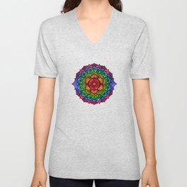 Colorful Seven Chakra Mandala Unisex V-Neck