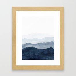 Indigo Abstract Watercolor Mountains Gerahmter Kunstdruck