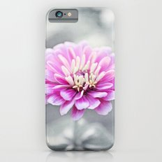 Pink Grey Flower Photography, Zinnia Floral Gray Nature Flowers iPhone 6s Slim Case