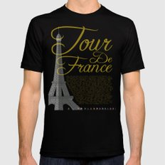 Tour De France Eiffel Tower Black Mens Fitted Tee MEDIUM
