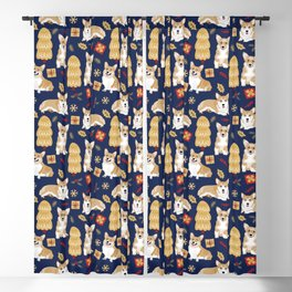 Corgis celebrate christmas - blue pattern Blackout Curtain