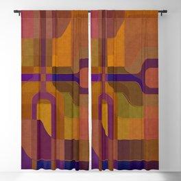 """Retro Labyrinth Violet and Orange"" Blackout Curtain"