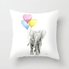 Elephant Watercolor with Balloons Rainbow Hearts Baby Whimsical Animal Nursery Prints Throw Pillow