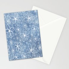 Doodle Flowers Blue Stationery Cards