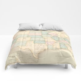 "Vintage map of the USA, high detail, ""librarian"" Comforters"