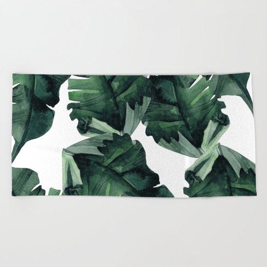 Banana Leaves Pattern Green Beach Towel