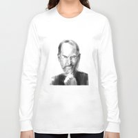 steve jobs Long Sleeve T-shirts featuring Steve Jobs caricature by michelepetrelli