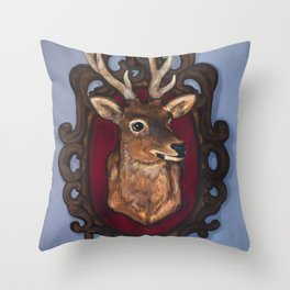 Stag Taxidermy Painting Throw Pillow